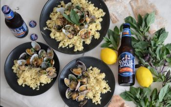 Beer Infused Couscous Clam Pilaf